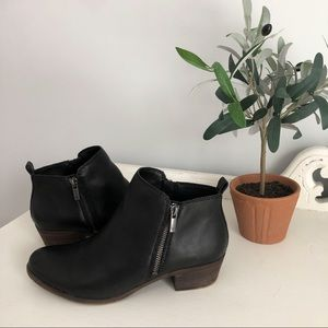 "Lucky Brand ""Basel Flat Leather Bootie"" in Black"